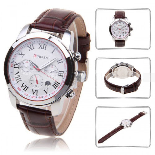 Curren Men's Chronograph with Leather Band (White 4.5cm Dial) - Roman - CUR080