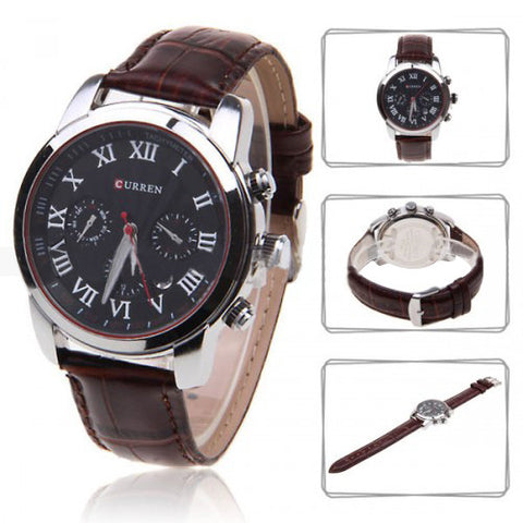 Curren Men's Chronograph with Leather Band (Black 4.5cm Dial) - Roman - CUR081