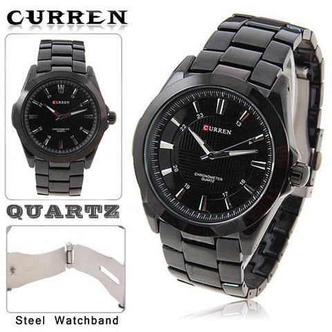 Curren Men's Black Stainless Steel Waterproof Watch (Black 5.2cm Dial) - CUR093
