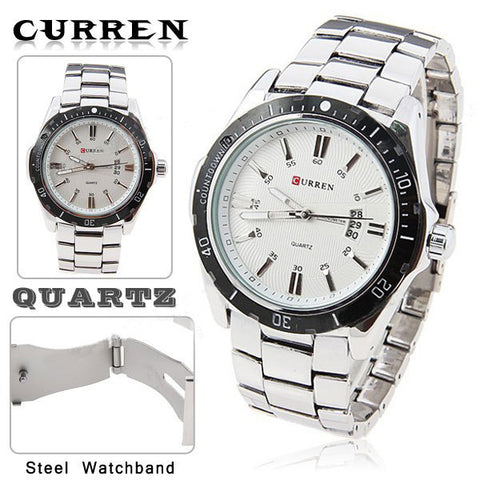 Curren Quartz Men's Stainless Steel Watch with Black Accent  (White 5.2cm Dial) - CUR095