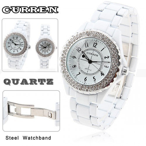 Curren Quartz Women's White Stainless Steel Waterproof Rhinestone Watch (White 3.2cm Dial) - CUR085