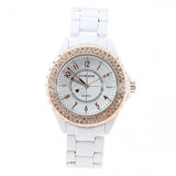 Curren Men's White Stainless Steel Waterproof Watch with Rhinestone Accents (White 4.5cm Dial) - CUR053