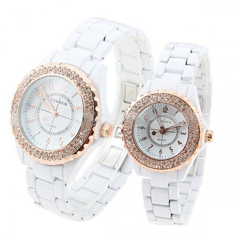 Curren Lovers' White Stainless Steel Waterproof Watch Set with Rhinestone Accents - CUR055