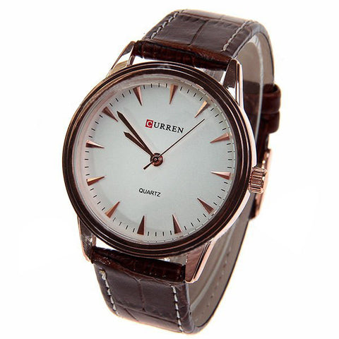 Curren Women's Watch with Leather Band (White 3.4cm Dial) - CUR048
