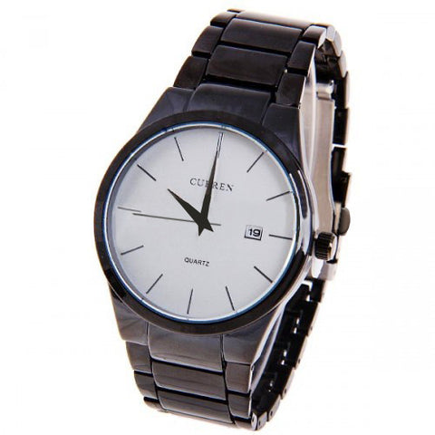 Curren Men's Black Stainless Steel Watch (White 4.3cm Dial) - CUR010