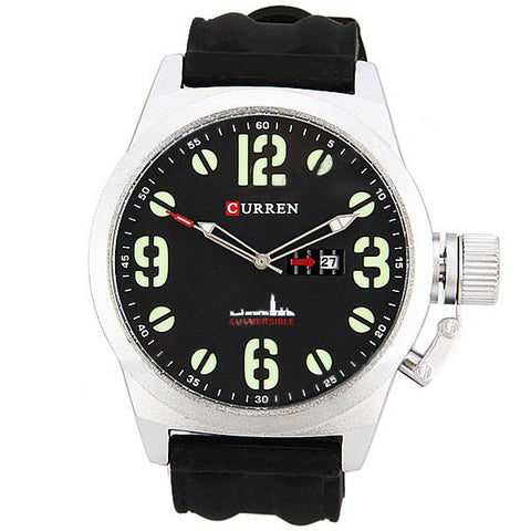 Curren Men's Watch with Silicone Band (Black 5.7cm Dial) - CUR040