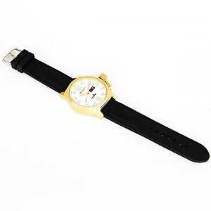 Curren Men's Golden Watch with Silicone Band (White 5.7cm Dial) - CUR022