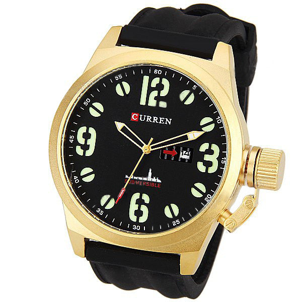 Curren Men's Watch and Silicone Band (Black 5.7cm Dial) - CUR043