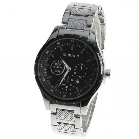 Curren Men's Stainless Steel Chronograph (Black 4.8cm Dial) - CUR008