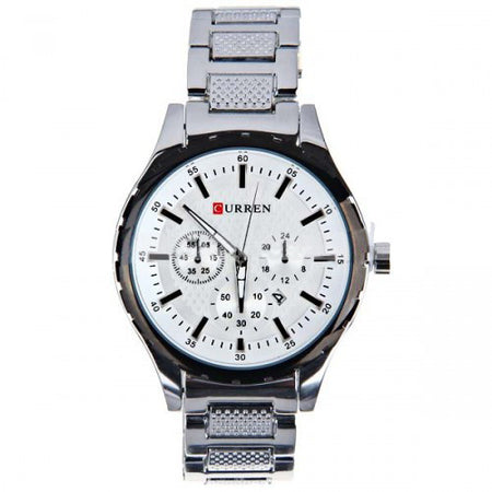 Curren Men's Chronograph  with Stainless Steel Band (White 4.7cm Dial) - CUR006