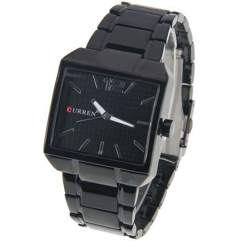 Curren Men's Black Stainless Steel Watch (Black 4cm Dial) - CUR005