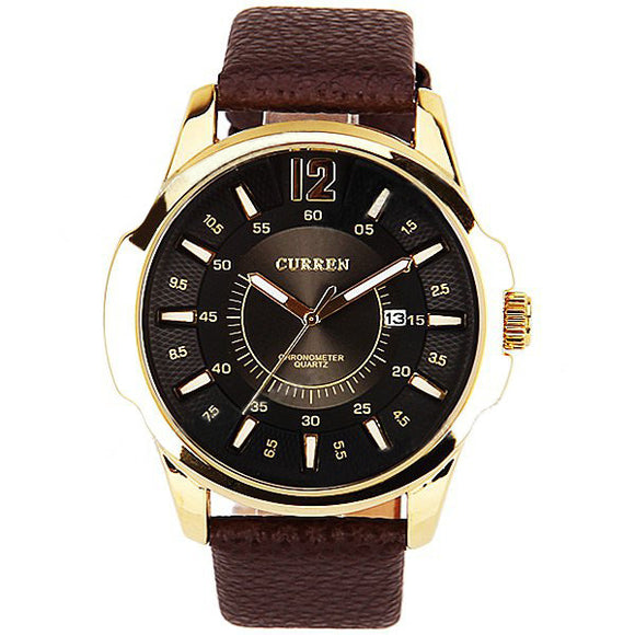 Curren Men's Watch with Leather Band (Black 4,8cm Dial) CUR021