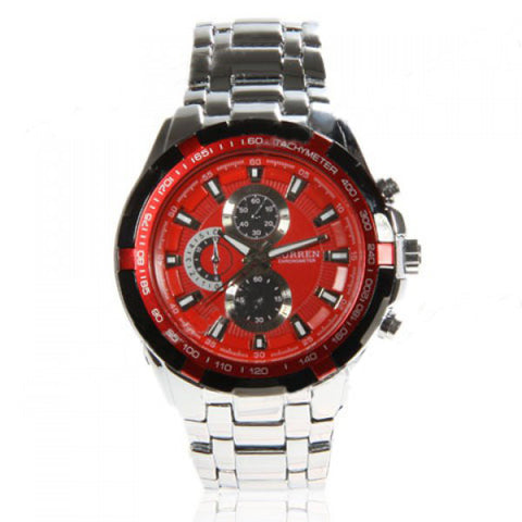 Curren Men's Stainless Steel Waterproof Chronograph (Red 5.5cm Dial) - CUR071