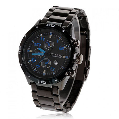 Curren Quartz Men's Black Stainless Steel Waterproof Chronograph with Cobalt Markings (Black 4.5cm Dial) - CUR104