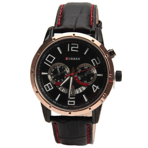 Curren Quartz Watch with Leather Band (Black 4.7cm Dial) Unisex - Champagne - CUR116