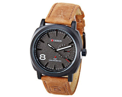 Curren Unisex Watch with Leather Band (Black 4.5cm Dial ) - CUR110