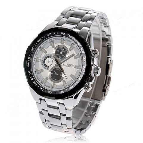 Curren Quartz Women's Stainless Steel Waterproof Chronograph (White 5cm Dial) - CUR098