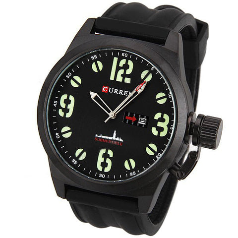 Curren Men's Watch with Silicone Band (Black 5cm Dial) - CUR019