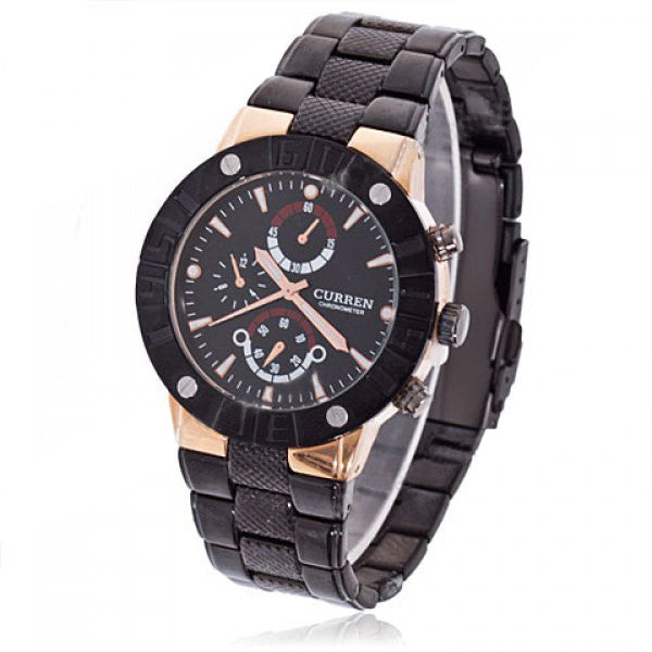Curren Men's Black Stainless Steel Chronograph with Gold Accents (Black 4.3cm Dial) - CUR072