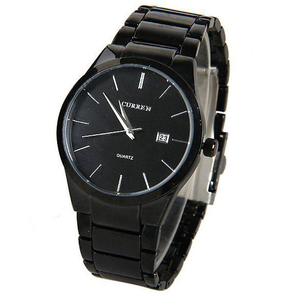 Curren Men's Black Stainless Steel Watch (Black 4.4cm Dial) - CUR013
