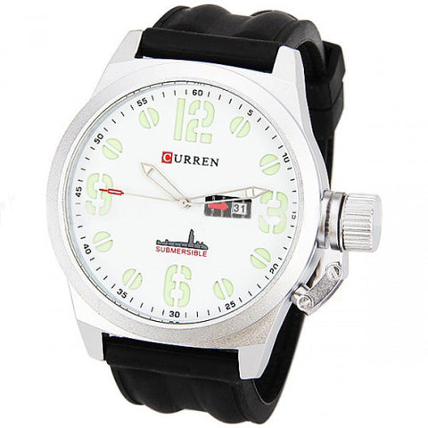 Curren Men's Watch with Silicone Band (White 5.7mm Dial) - CUR041