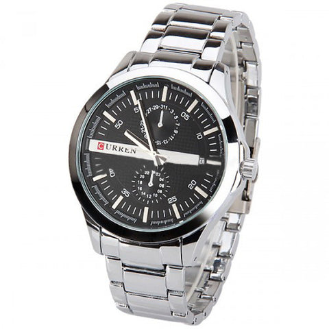 Curren Men's Stainless Steel Watch with Dual Chronograph (Black 5.4cm Dial) - CUR030