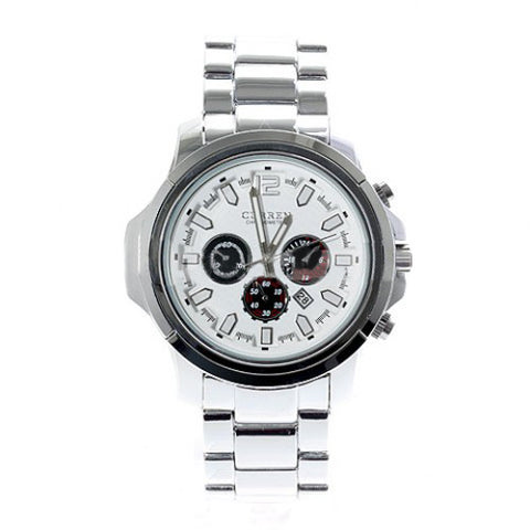 Curren Men's Stainless Steel Waterproof Chronograph (White 4.5cm Dial) - CUR026