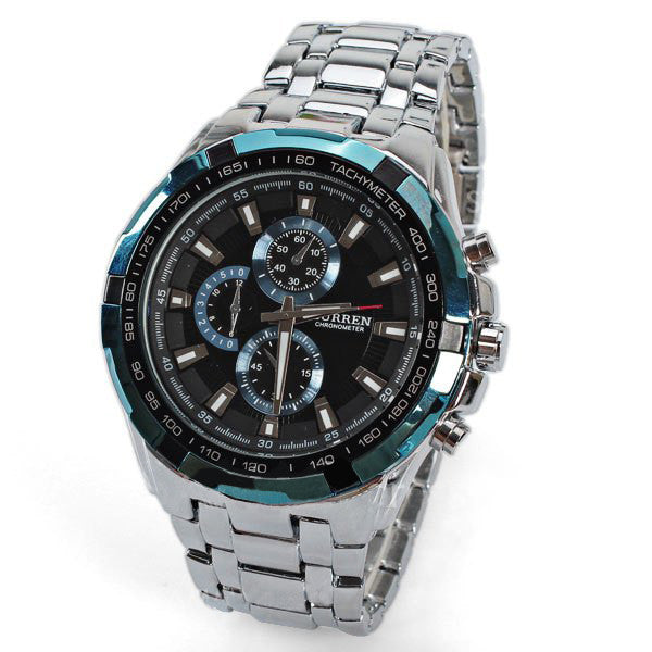 Curren Men's Stainless Steel Chronograph (Black 4.5cm Dial) - CUR111