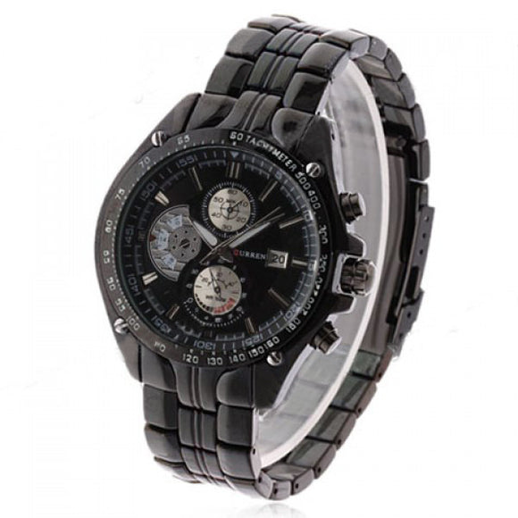 Curren Men's Black Stainless Steel Waterproof Chronograph (Black 4.6cm Dial) - CUR105