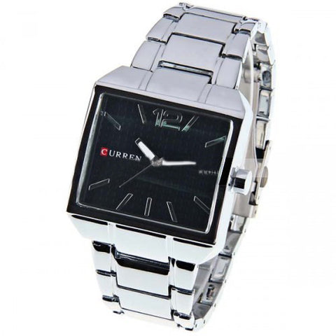 Curren Men's Stainless Watch with Stainless Steel Band (Black 4cm Dial) - CUR007
