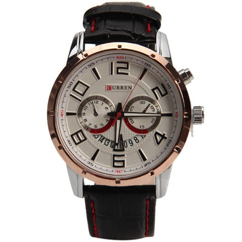 Curren Quartz Unisex Watch with Black Leather Band (White 4.7cm Dial) - CUR117
