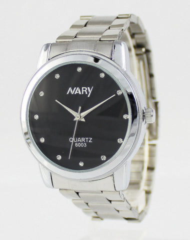 Nary Women's White Dial Stainless Steel Dress Watch-B6003W