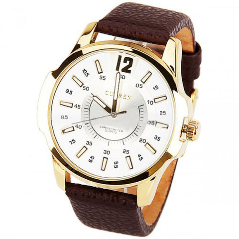 Curren Men's Watch and Brown Leather Band (White 4.8cm Dial) - CUR035