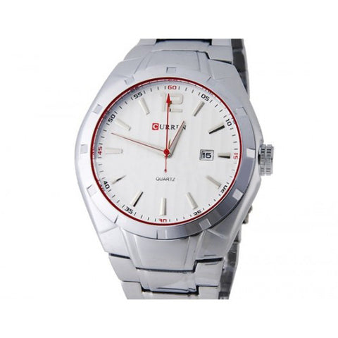Curren Men's Stainless Steel Watch with Red Accents (White 4.5cm Dial) - CUR023
