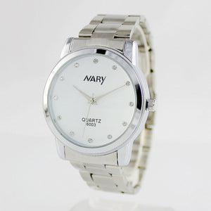 Nary Women's White Dial Stainless Steel Dress Watch-A6003W
