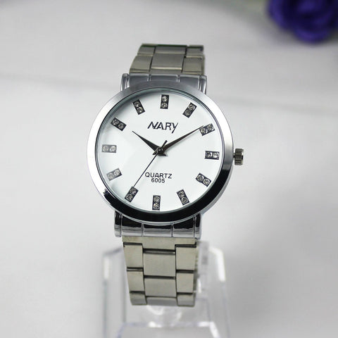 Nary Women's White Dial Stainless Steel Dress Watch-W6005W