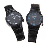 Curren Men's Black Stainless Steel Leisure Waterproof Watch (Black 4.4cm Dial) - Blue - CUR069