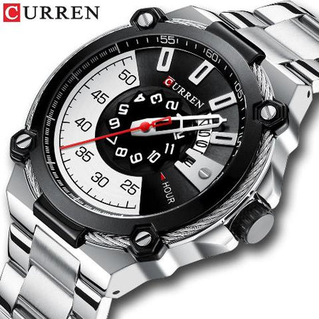 Curren Black n White Dial Watch (Dial 4.5cm) - CUR184