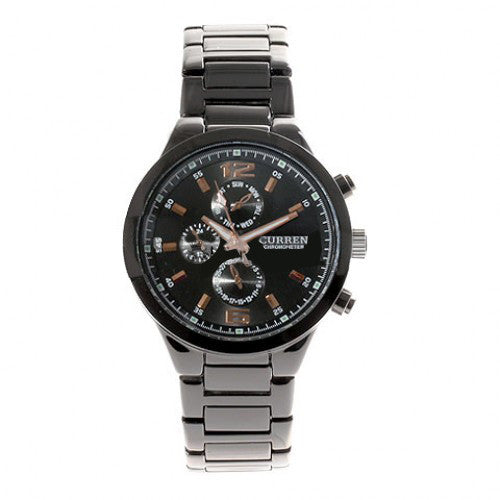 Curren men 39 s black stainless steel waterproof chronograph black for Curren watches