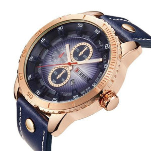 Curren Gold and Blue Dial Men's Watch (Dial 4.5cm) - CUR195