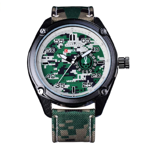 Curren Military Luminous Pointer (Green 4.5cm Dial) - CUR124