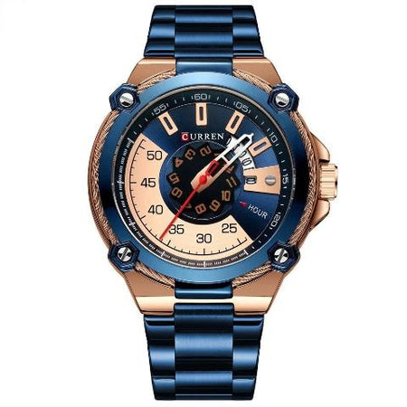 Curren Blue n Gold Dial Watch (Dial 4.5cm) - CUR185
