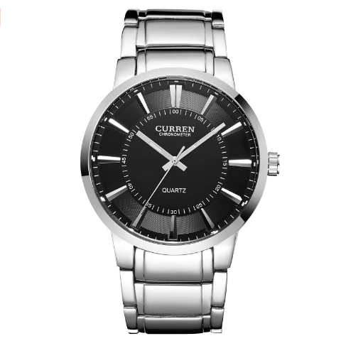 black com dial steel quartz fashion choronometer large watches stainless collections curren currenwatches watch
