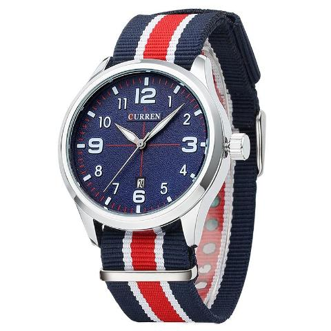 Curren Men's Nylon Strap Watch (Blue 4.2cm Dial) - CUR123