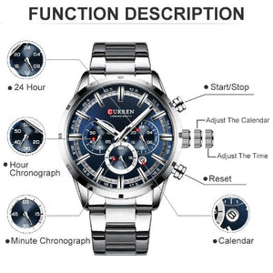Curren Stainless Steel Chronograph Men's Watch (Dial - 4.7cm) - CUR198