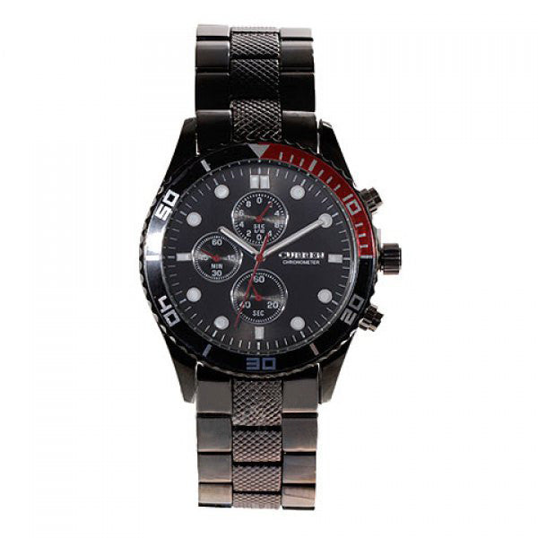 Curren Men's Black Stainless Steel Chronograph (Black 4.5cm Dial) - CUR062