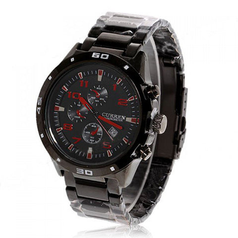 Curren Quartz Men's  Black Stainless Steel Waterproof Chronograph with Red Accents (Black 4.5cm Dial) - CUR101