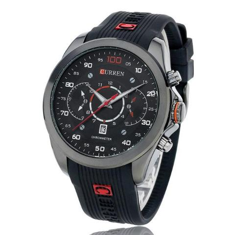 Curren Silicone Band Chronograph Watch ( Dial 4.7cm) - CUR 128