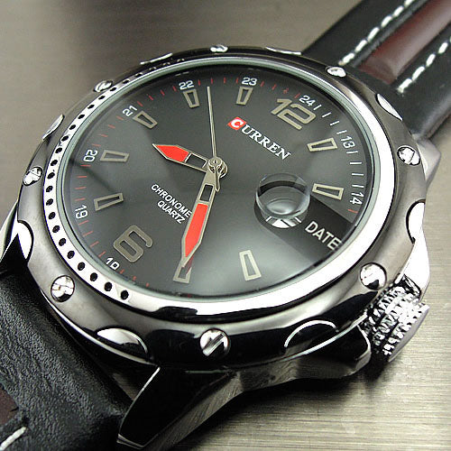 Curren Men's Watch with Leather Band (4.3 cm Dial) - CUR115