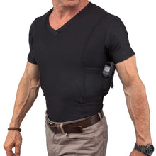 Load image into Gallery viewer, MENS CONCEALED CARRY COOLUX MESH V-NECK TEE
